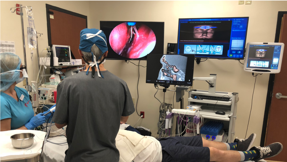 Dr. Nachlas performing Computer Assisted Balloon Sinuplasty at the Nose and Sinus Institute of Boca Raton.